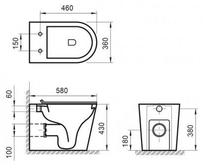 FLAY-R Унитаз приставной безободковый, P-trap BB1003CBR 4