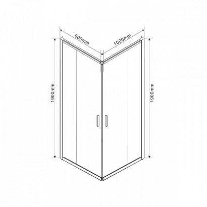 Душевой уголок Garda VSS-1G9010CLB, 1000*900, черный, стекло прозрачное 3