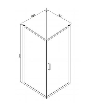 Душевой уголок BRAVAT Drop без поддона одна распашная дверь 900x900x2000 3