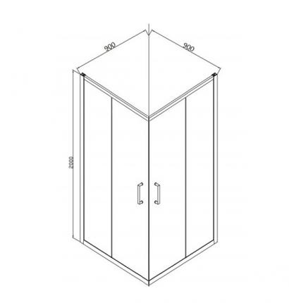 Душевой уголок BRAVAT Drop без поддона две раздвижные двери 900x900x2000 3