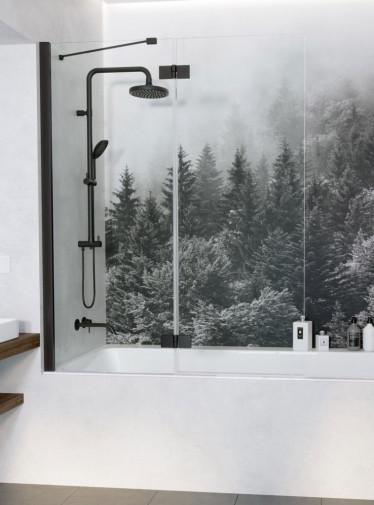 Шторка на ванну Radaway Essenza New Black PND II 130 левая , профиль чёрный , стекло прозрачное