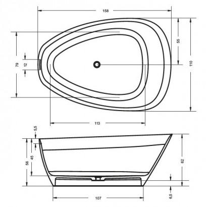 Овальная ванна из искусственного камня Riho Toledo 158x110 BS5500500000000 4