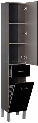 Шкаф-пенал на ножках Lanini Флори П-30 с бельевой корзиной , цвет чёрный ,  без упаковки (стоял на витрине)