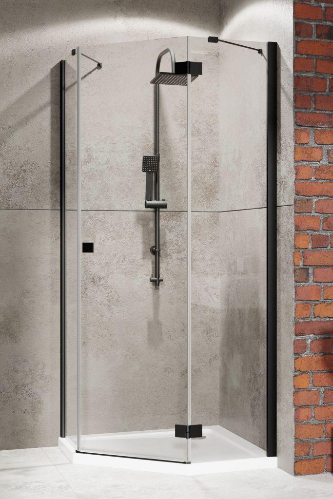 Душевой  уголок Radaway Essenza New Black PTJ PTJ 80x90 дверь левая на узкой стенке , профиль чёрный , стекло прозрачное