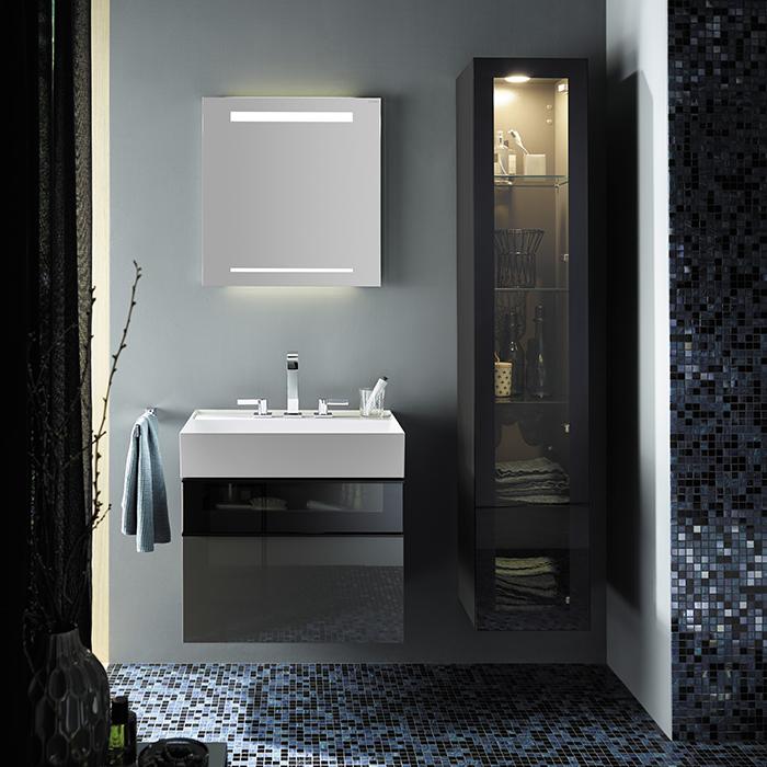 Burgbad Yumo Комплект подвесной мебели 66x47x64 см, со стеклянной вставкой, серый