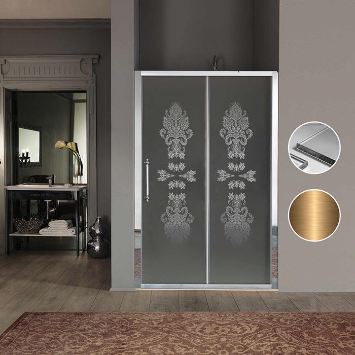 SAMO Impero Дверь в нишу/для боковой стены 116-122хh200, профиль и ручки бронза, стекло прозрачное с декором N8