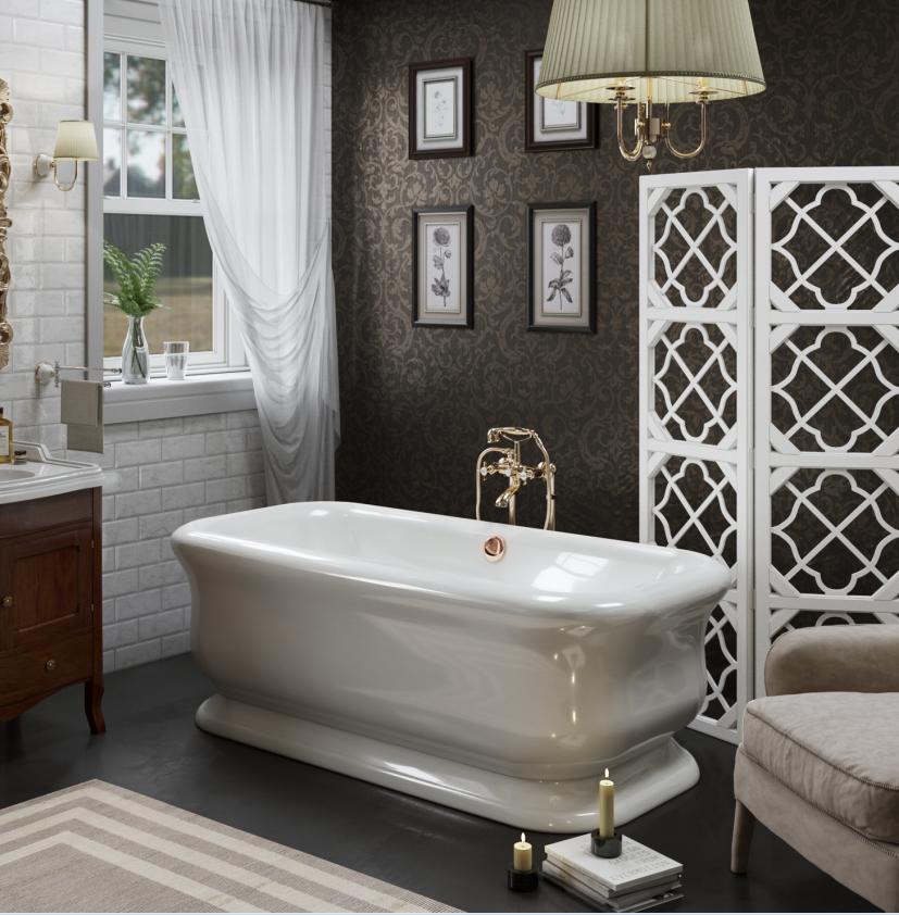 TW 180, ванна 180*85*h63см, в комплекте сл-переливом click-clack и сифоном, материал: акрил, цвет ванны белый/цвет слива золото
