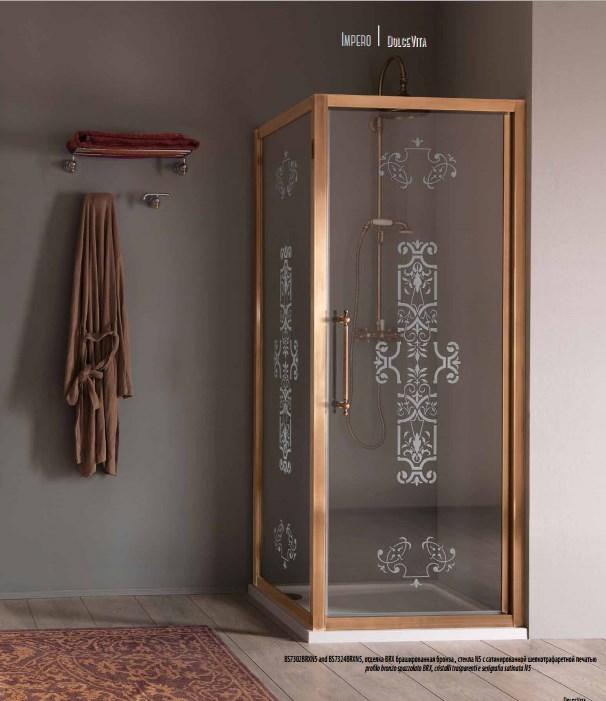 SAMO Impero Душевой угол  900х900х200, профиль и ручки бронза BRX, стекло прозрачное с декором N5+starclean