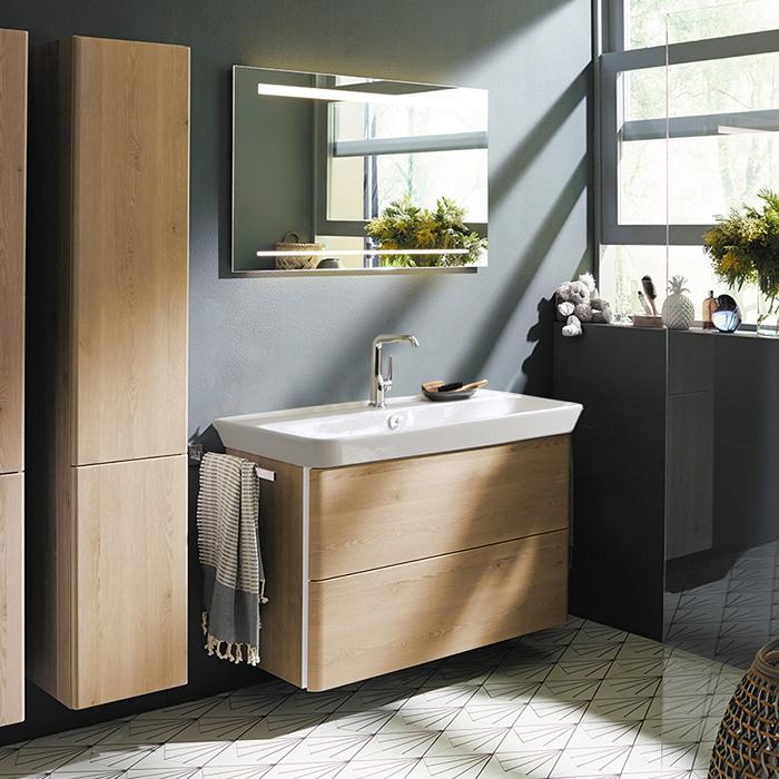 Burgbad Iveo Комплект мебели с раковиной и зеркалом 1000 мм, цвет Кашемировый дубовый