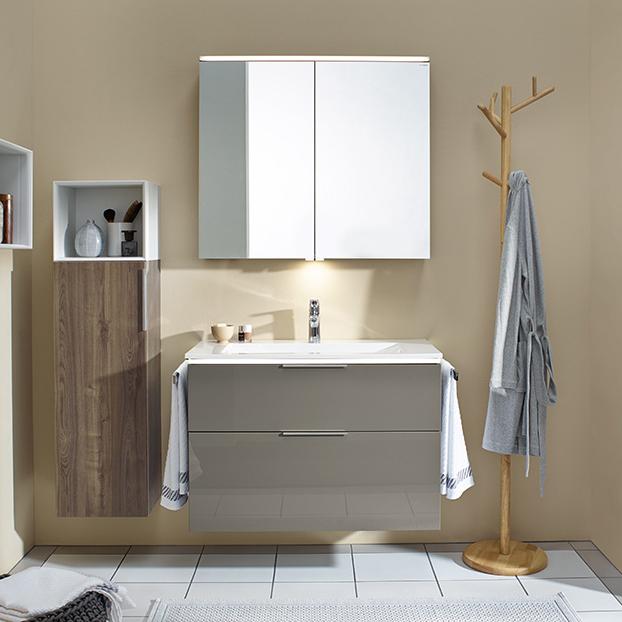 Burgbad Eqio Комплект мебели с раковиной 930 мм, цвет серый глянец