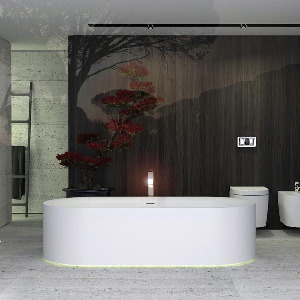 KNIEF Moon ванна 190x90x50 cm, c встроенной LED подсветкой ,с  слив переливом ,