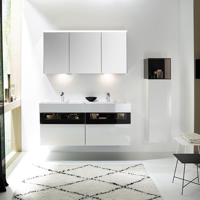 Burgbad Yumo Комплект подвесной мебели 131x47x64 см, со стеклянной вставкой, цвет белый