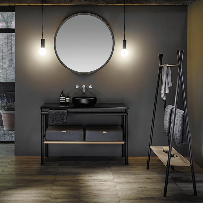Burgbad Mya Комплект напольной мебели 120x50x79 см, дуб черный, столешница с раковиной черные