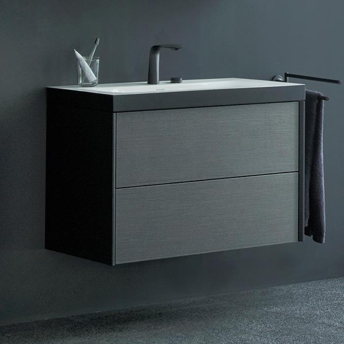 Duravit XViu Тумба подвесная 800x480x503мм, 2 ящика, с раковиной без перелива, с 2 отв под смес, цвет: dark brushed oak/чёрный матовый