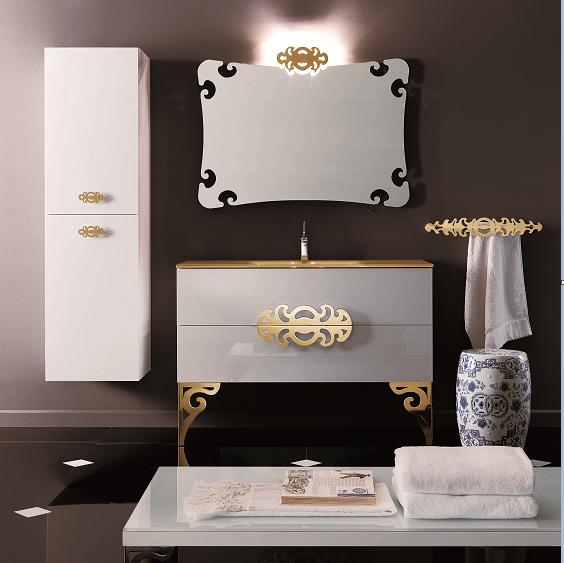 Eurolegno Glamour Комплект мебели,  с золотой раковиной, зеркалом, ножками, светильником, 120см, Цвет: белый/золото