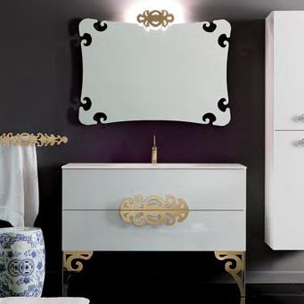 Eurolegno Glamour Комплект мебели, с белой раковиной, зеркалом, ножками, светильником, 120см, Цвет: белый/золото