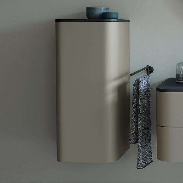 Duravit Happy D.2 Plus Шкаф подвесной 880x400x360мм с 2 стеклянными полками, 1 дверь, петли слева, цвет: stone grey satin matt/brushed walnut
