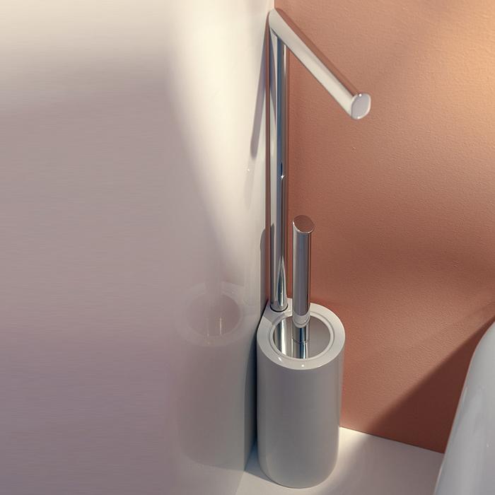 Bertocci Cento Напольная стойка с ершиком и бумагодержателем, цвет: белая керамика/хром
