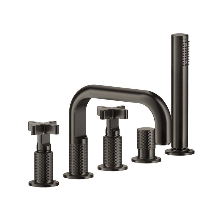 Gessi Inciso+ Смеситель для ванны на 5 отверстий с изливом, переключателем, ручным душем и шлангом 1,50 м., цвет: black XL