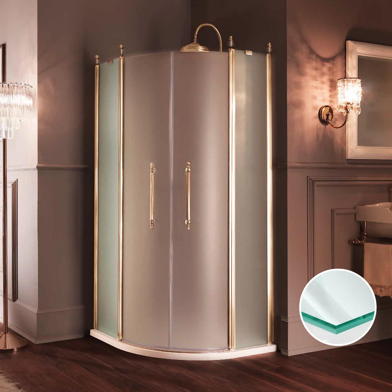 SAMO ETERNA 1/4круга, двери расп. 95-97.5хh190, R550, профиль золото, стекло прозрачное+StarClean
