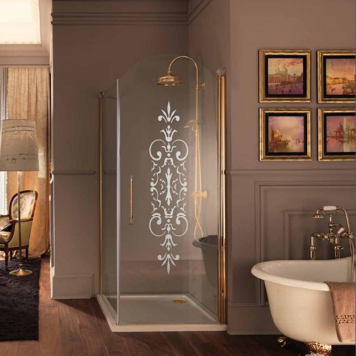 SAMO ETERNA Душевой угол, двери распашные 890x890хh190, профиль золото, стекло прозрачное. дверь c мат. декором N6