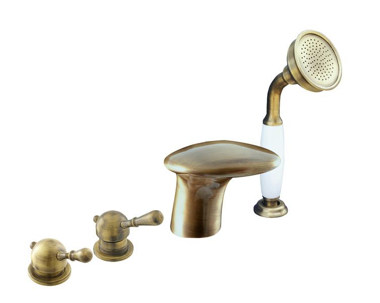 Смеситель RAV Slezаk ЛАБЭ для ванной, на 4-е отверстия, переключатель керамический, бронзовый