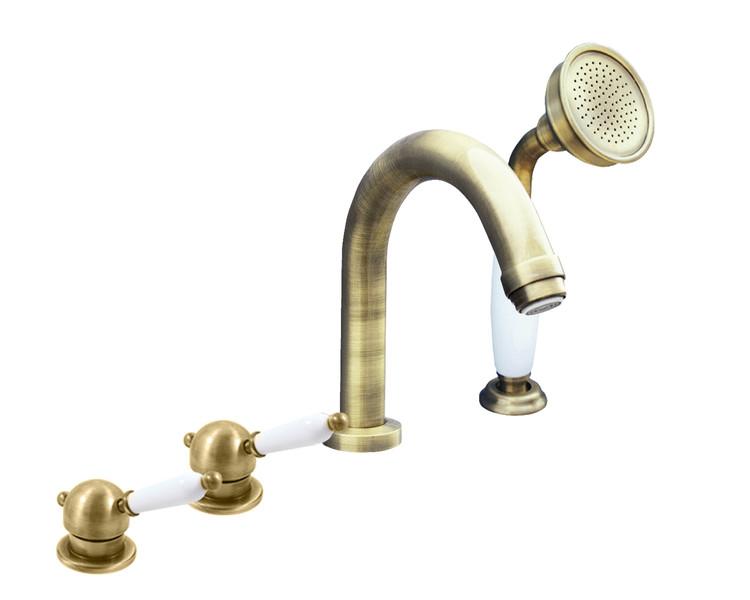 Смеситель RAV Slezаk ЛАБЭ для ванны на 4-е отверстия, переключатель керамический бронза