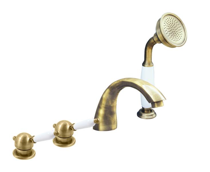 Смеситель RAV Slezаk ЛАБЭ для ванной на 4-е отверстия, переключатель керамический бронза