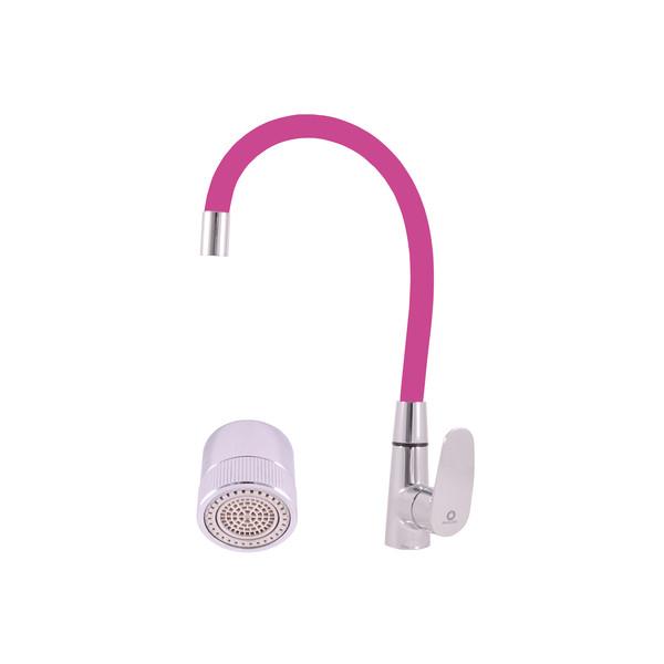 Смеситель RAV Slezаk AMUR кухонный с поворотным и гибким изливом розовый, аэратор с поворотом на душ