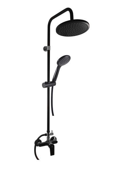Смеситель RAV Slezаk COLORADO для душа с керамическим переключателем,душ.штангой, ручная лейка,верхний душ,черный/хром матный