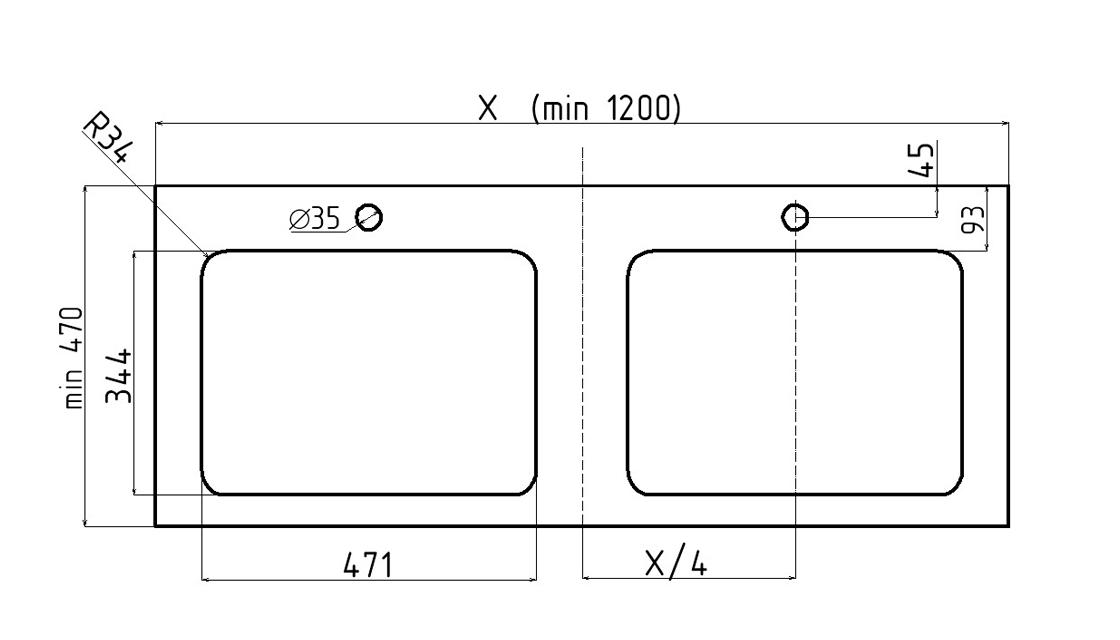 Столешница Unit 120, выс. 11, вырез тип 3SC, под Effe слева и справа и смеситель, графитовый