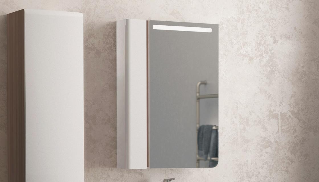 Зеркало-шкаф Cub 60 Белый + темный лен