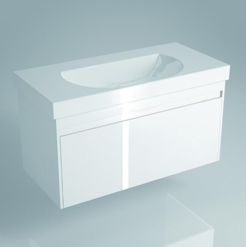 Тумба BUONGIORNO под умывальник подвесная 100 см  европейский белый с 1 выдвижным ящиком + 1 внутренний ящик