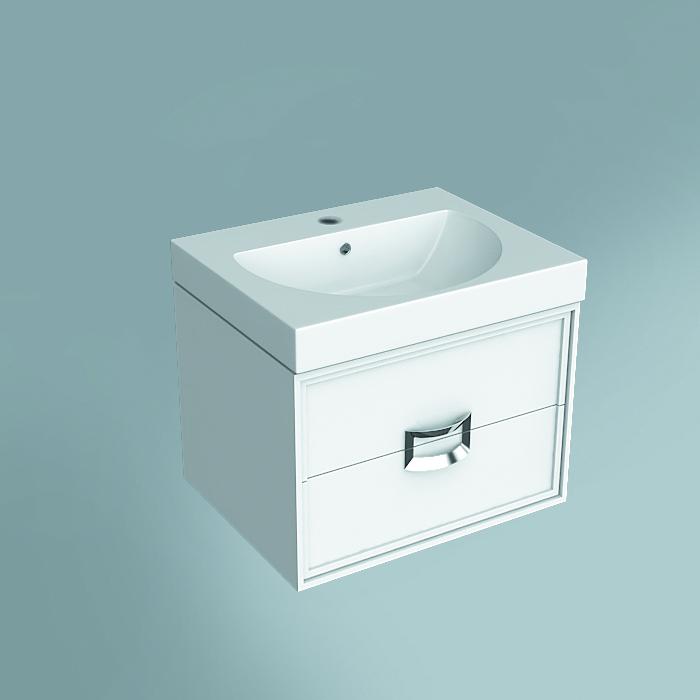 Тумба Canaletto белая матовая 60 см, с 2 ящиками (подходит для раковин Buongiorno)