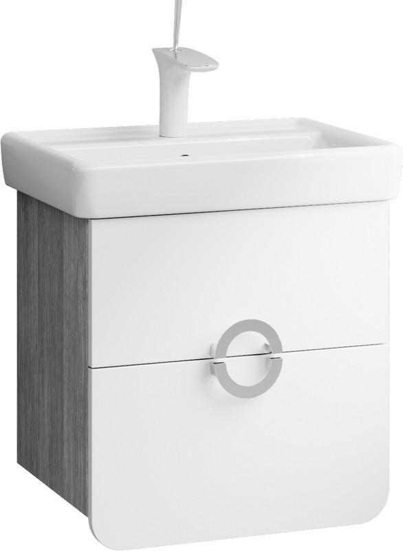 Аликанте Тумба под умывальник подвесная с ящиками, цвет дуб седой, две части (Alic.01.05/Gray),