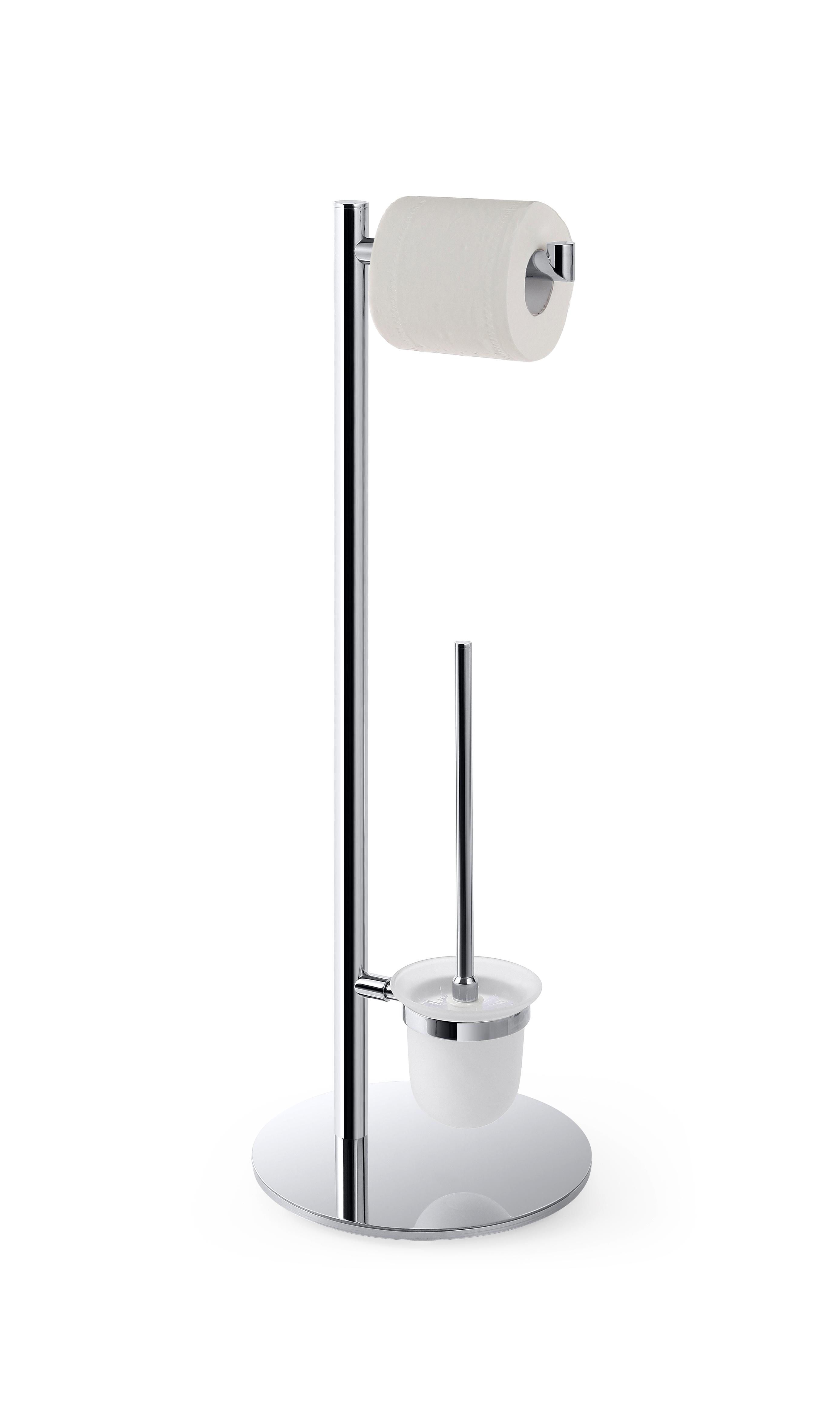 Стойка с держателем туалетной бумаги иёршик, щётка белая
