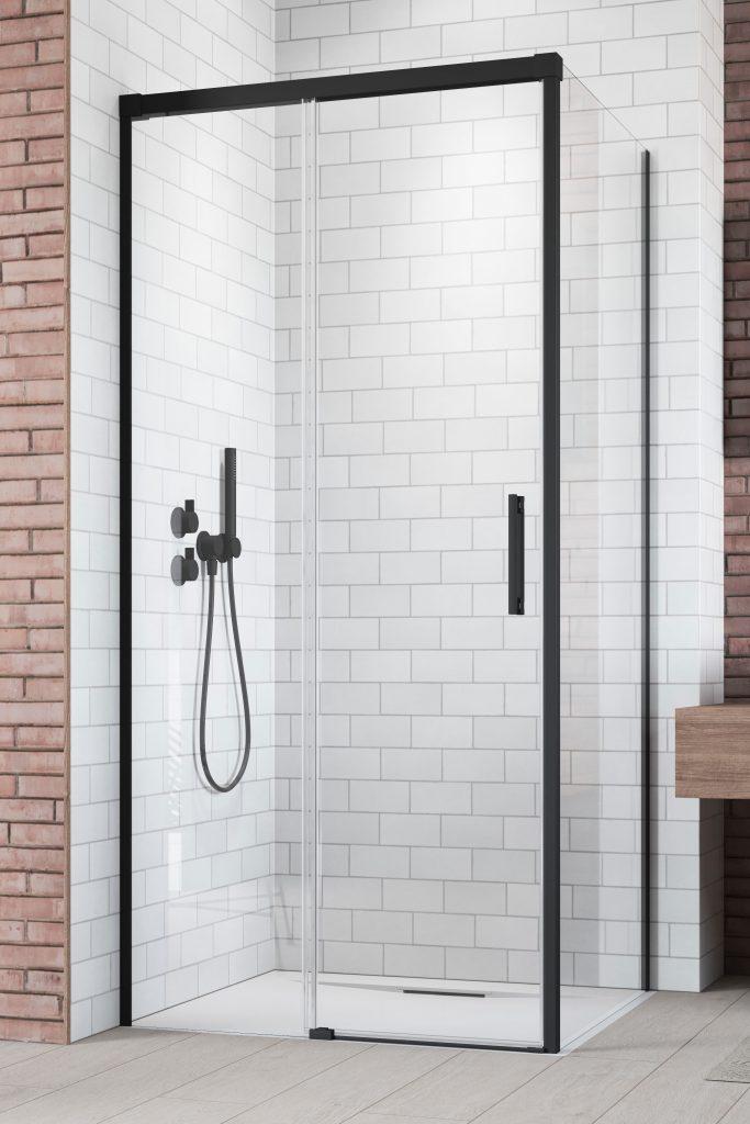 Боковая стенка для душевого уголка Radaway Idea Black KDJ 70 левая , профиль чёрный , стекло прозрачное