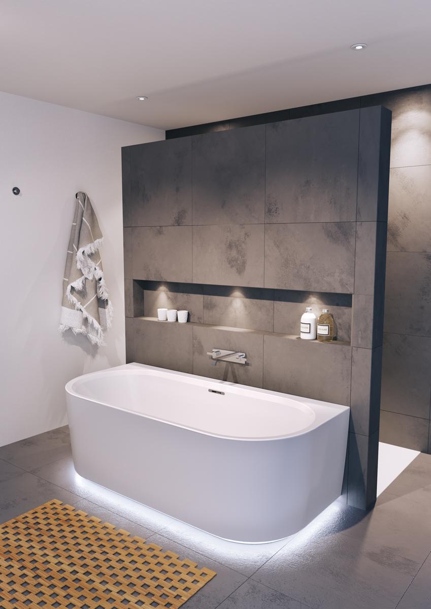 Прямоугольная ванна Riho Desire Back2Wall LED 184x84 без гидромассажа BD0700500K00133