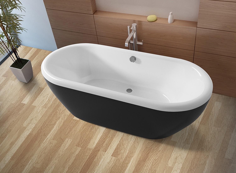 Овальная ванна Riho Dua 180x86 с черной глянцевой панелью без гидромассажа BD0166500000000