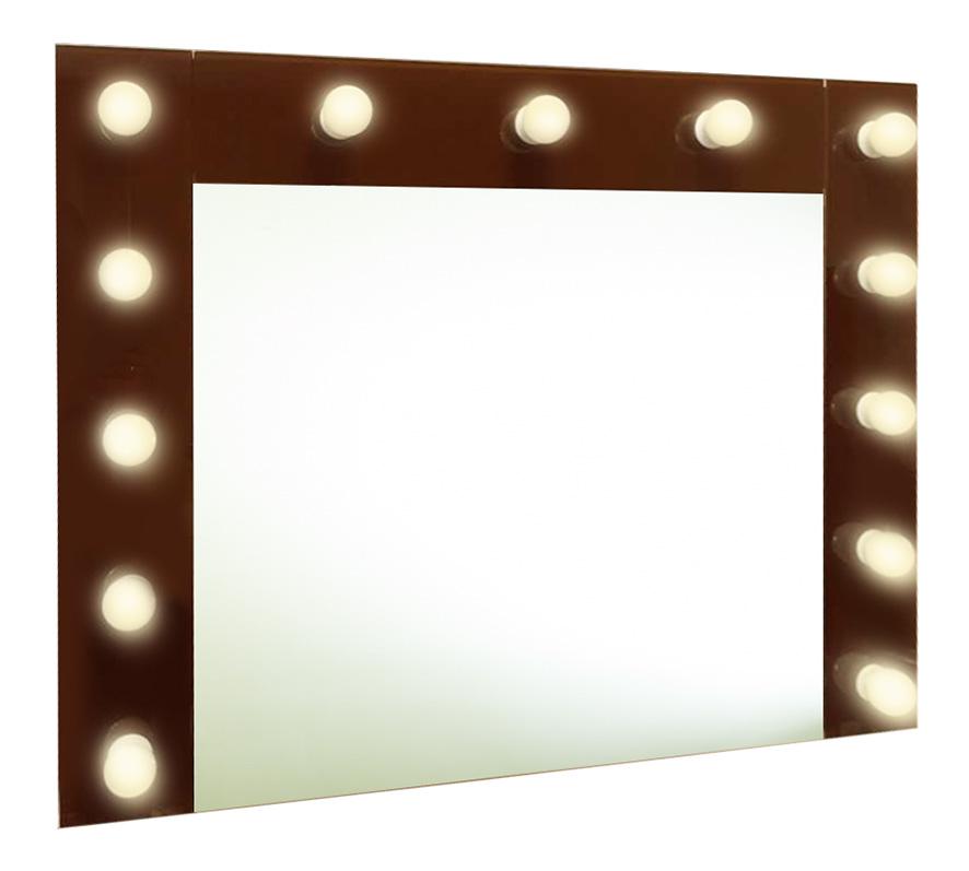 Зеркало  гримерное шоколад ( 13 ламп) 90х70