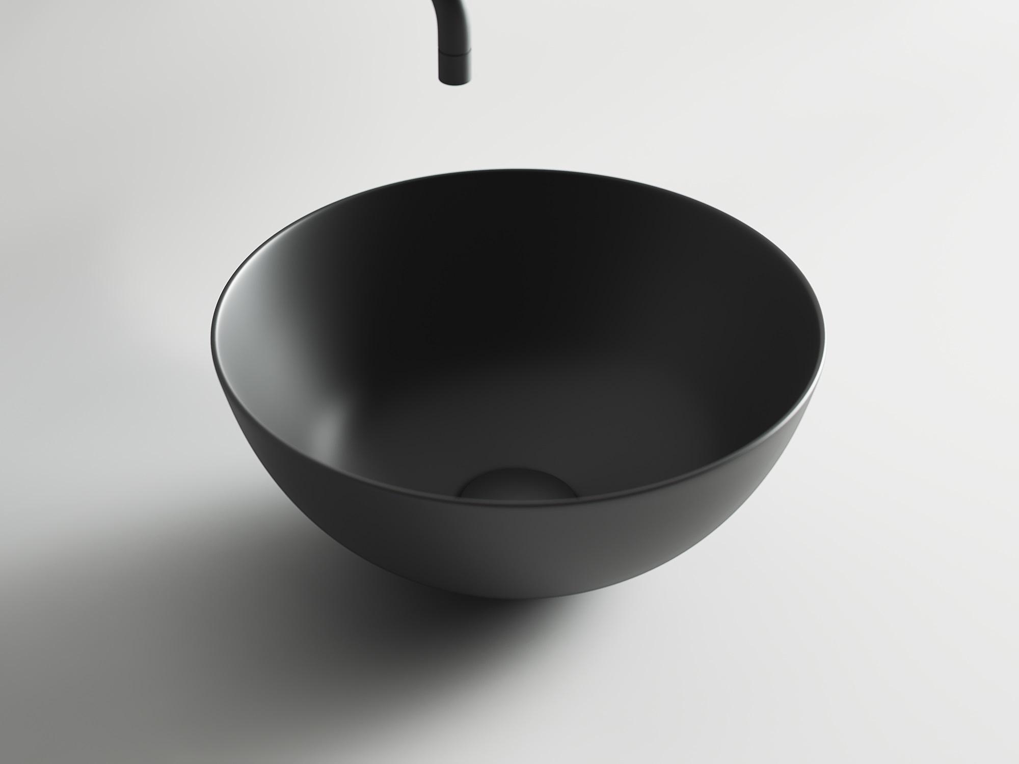 Умывальник чаша накладная круглая (цвет Чёрный Матовый) Element 358*358*155мм