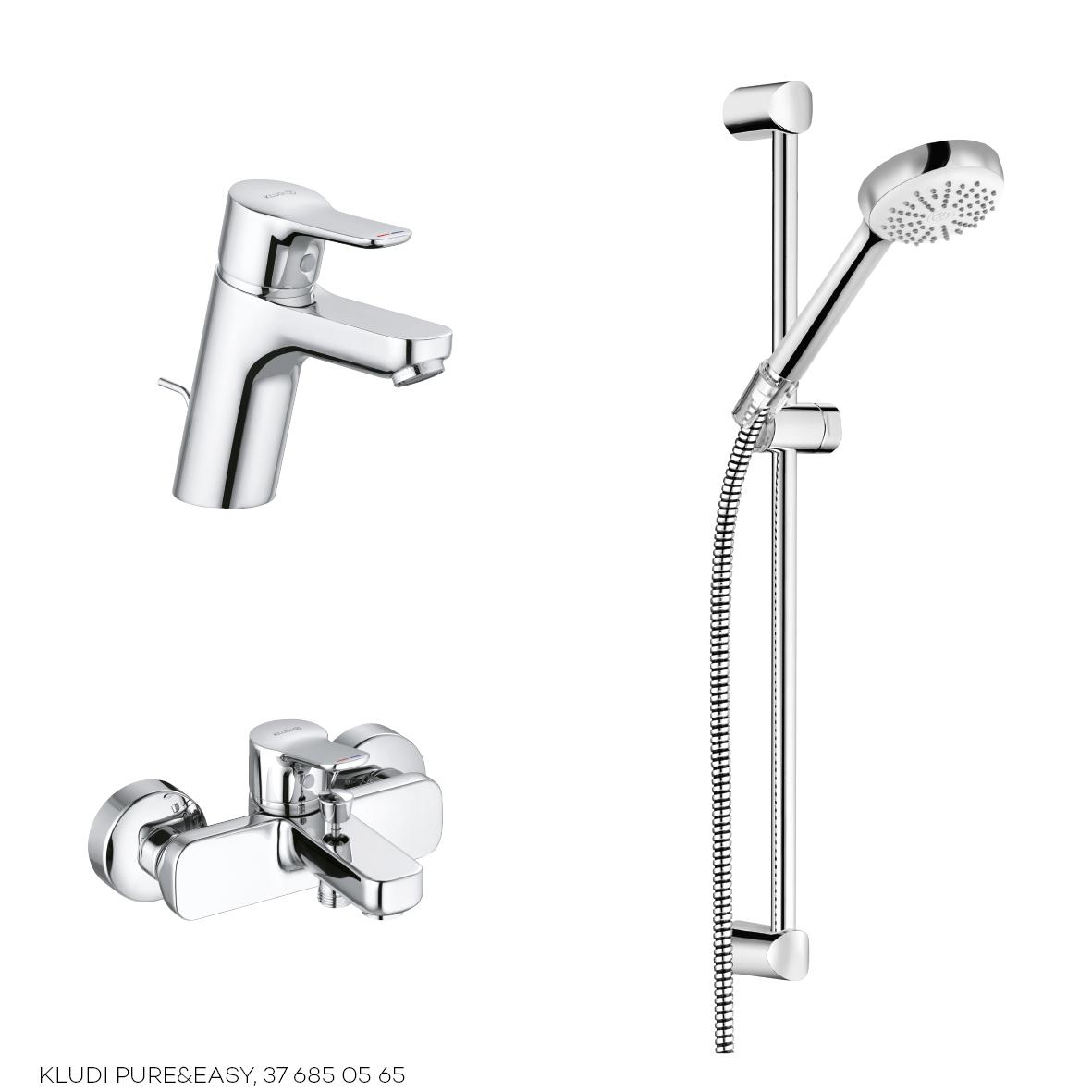 Набор смесителей 3 в 1 Kludi Pure&Easy 376850565 для ванны, хром