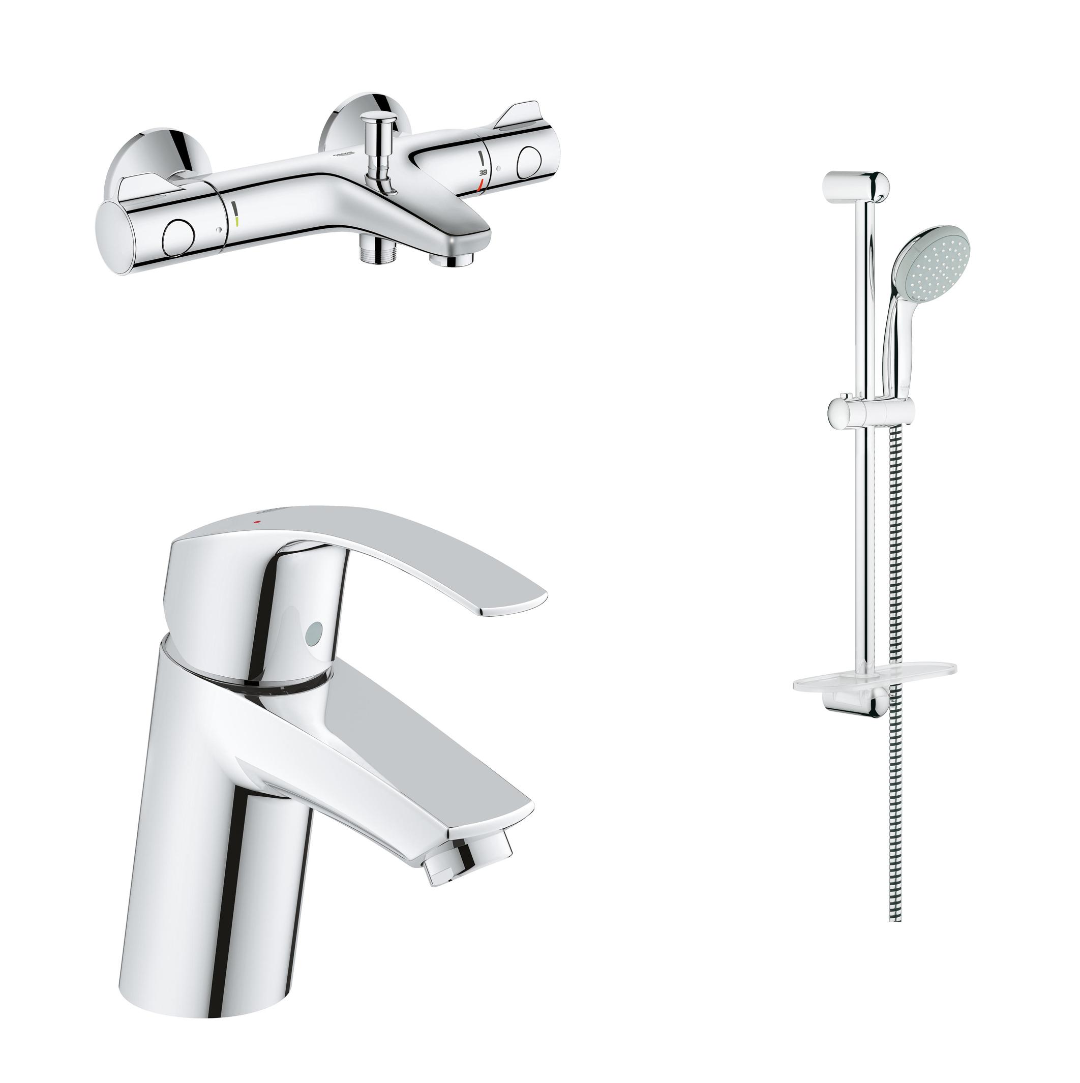 Готовый набор для ванны GROHE: смеситель для раковины, термостат для ванны, душевой гарнитур, хром (124422)