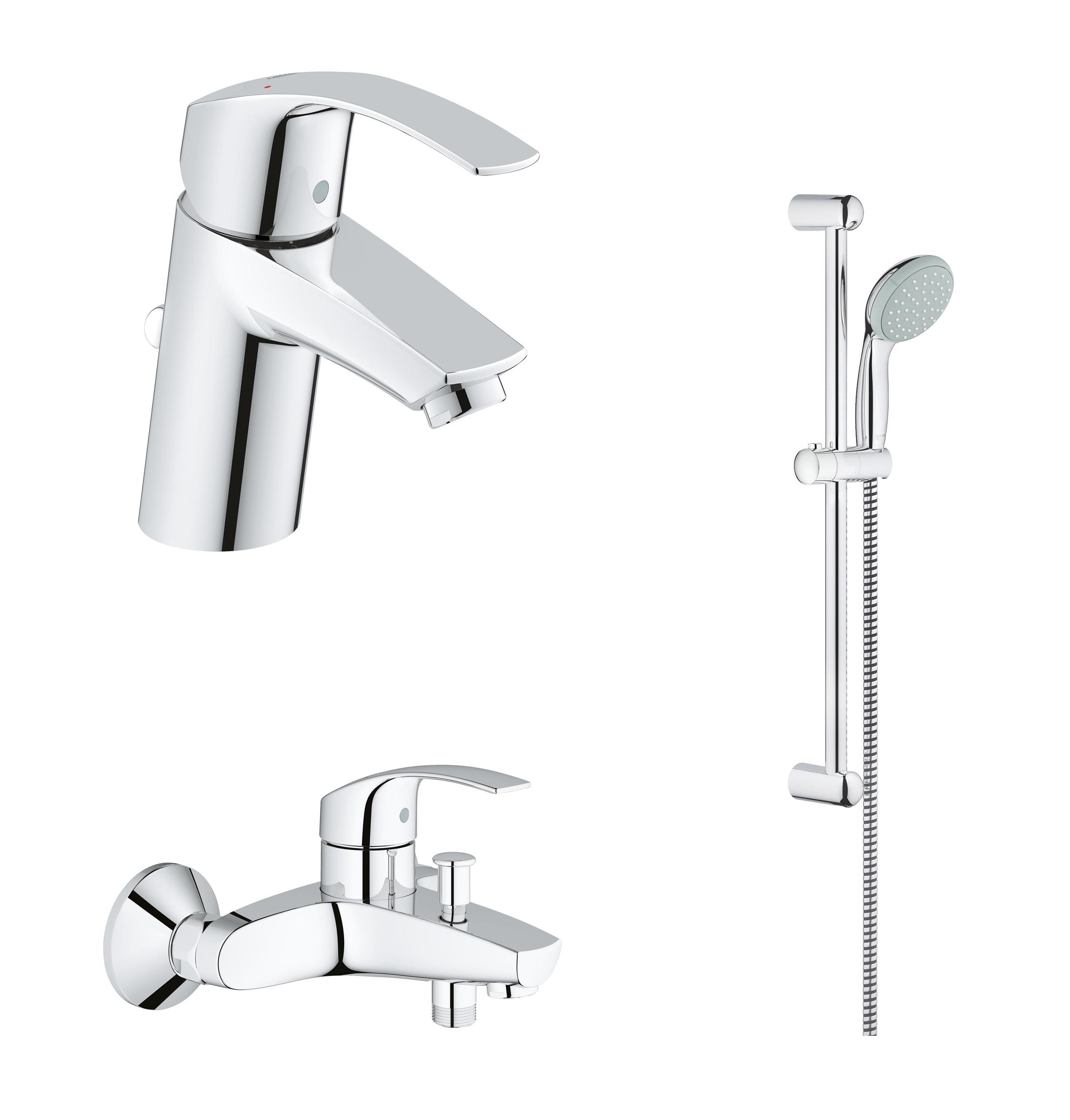 Набор смесителей для ванны GROHE Eurosmart с душевым гарнитуром, хром (124446)