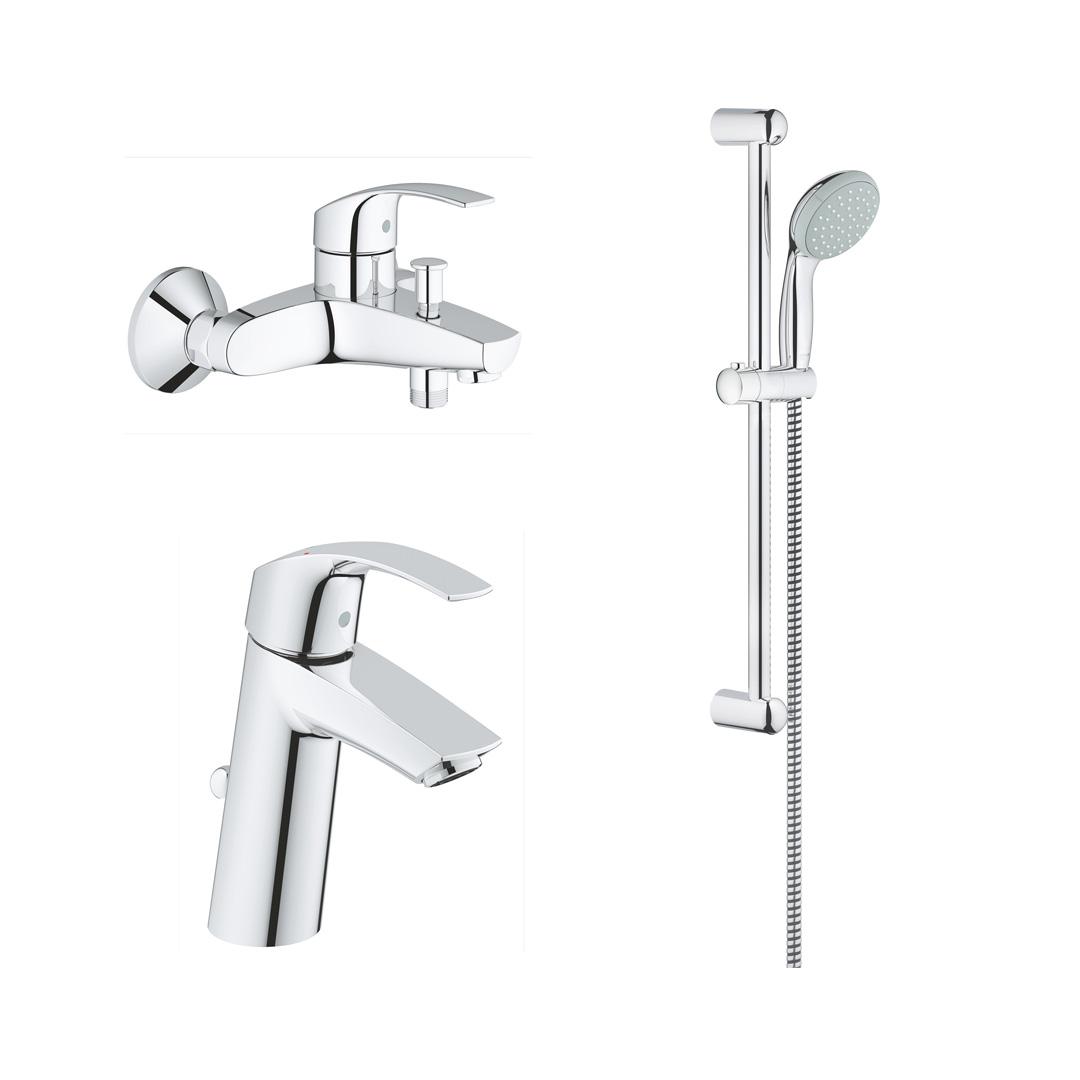 Eurosmart 2015 Промо-комплект для ванны: Eurosmart 2015 смеситель для раковины M-Size (23322001), Eurosmart 2015 смеситель для ванны (333000002), Tempesta New Душевой гарнитур I, 600 мм (27853001)