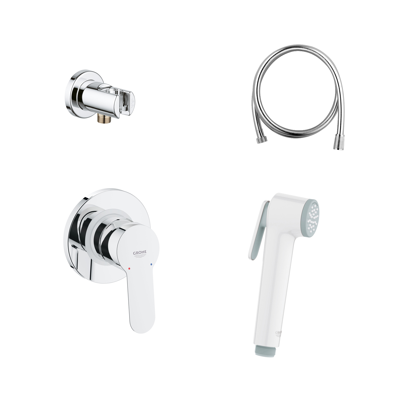 BauEdge Готовое решение для гигиенического душа скрытого монтажа (белый ручной душ)