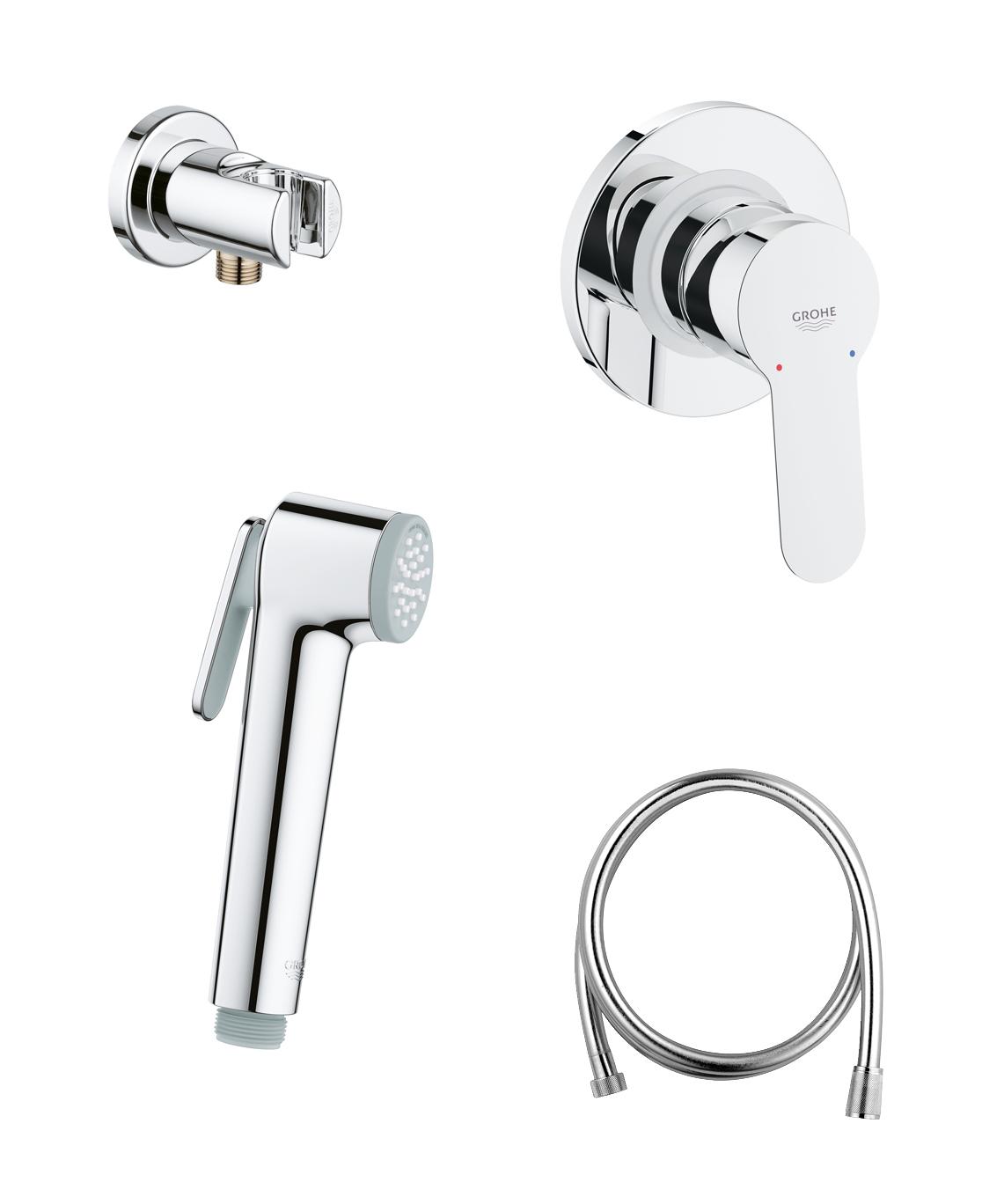 Готовый комплект для гигиенического душа GROHE BauEdge: встраиваемый смеситель, гигиенический душ со шлангом и держателем, хром (124898)