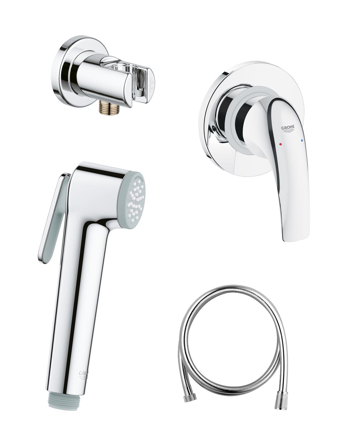 Готовый комплект для гигиенического душа GROHE BauCurve: встраиваемый смеситель, гигиенический душ со шлангом и держателем GROHE, хром (124899)