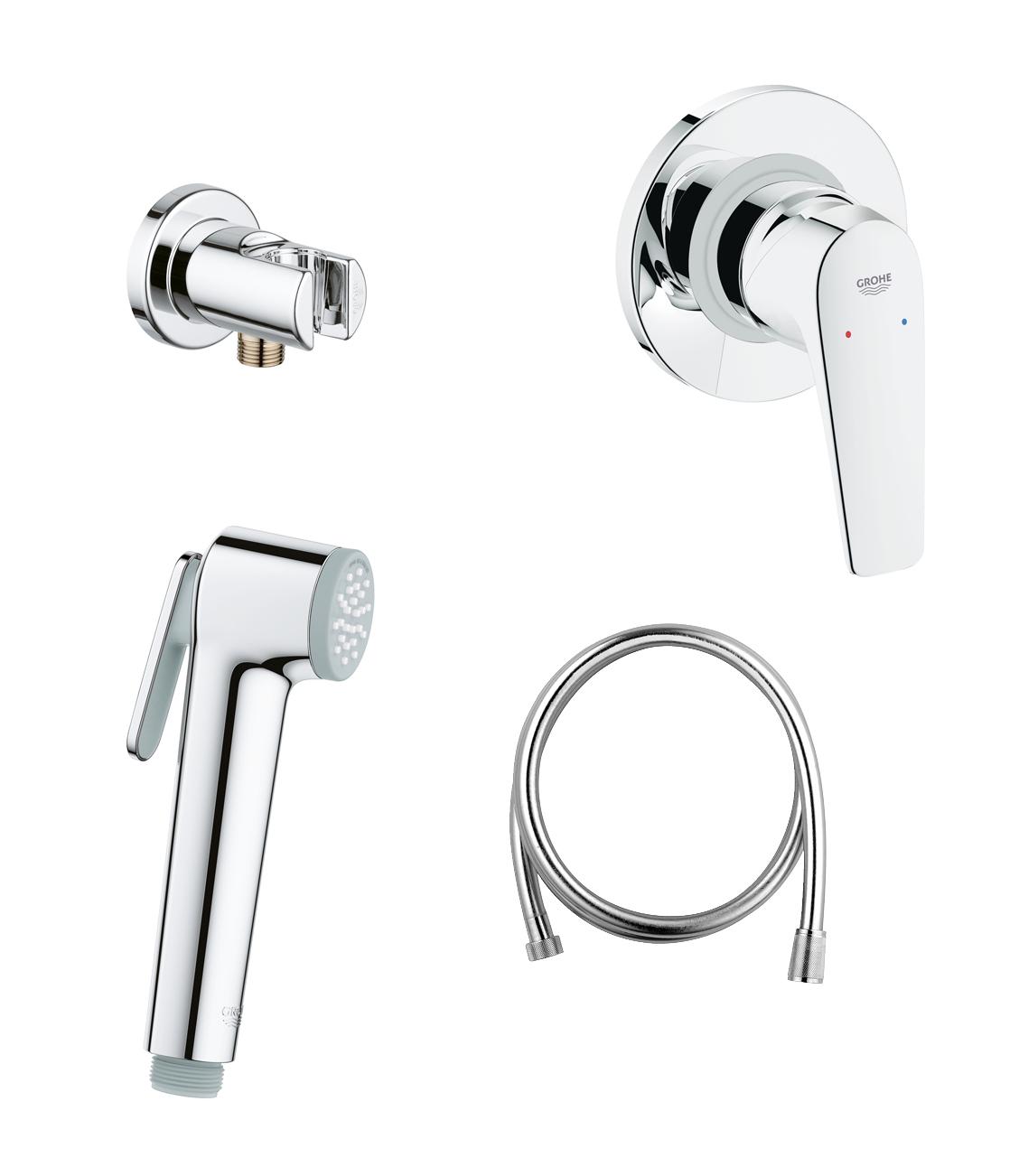 Готовый комплект для гигиенического душа GROHE BauFlow: встраиваемый смеситель, гигиенический душ со шлангом и держателем, хром (124900)