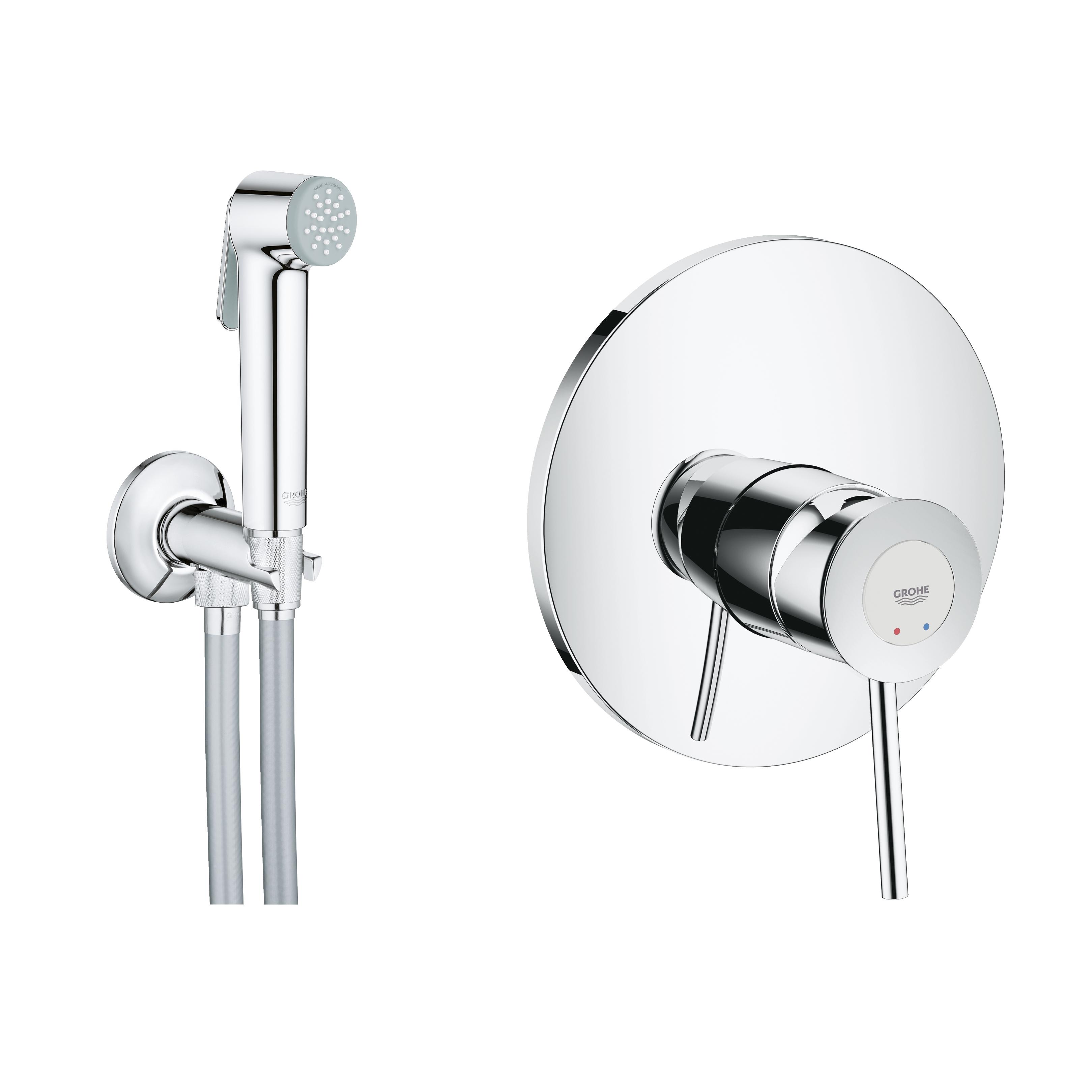 BauClassic Готовое решение для гигиенического душа скрытого монтажа с угловым вентилем (хромированный ручной душ)
